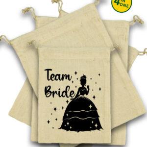 Team Bride Princess lánybúcsú – Vászonzacskó szett