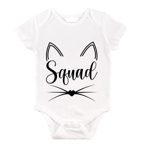 Baby body Cica Squad fehér