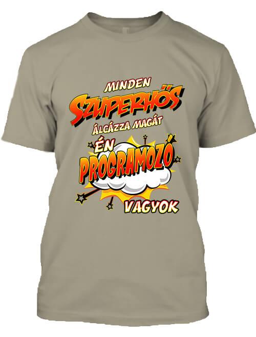 Férfi póló Szuperhős programozó khaki
