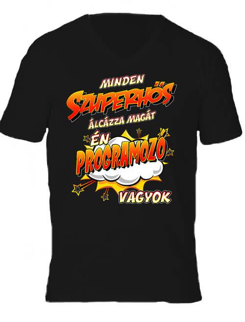 Férfi V nyakú póló Szuperhős programozó fekete
