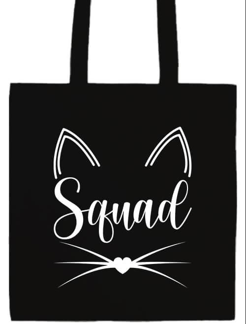 Hosszú fülű táska mánia Cica Squad fekete