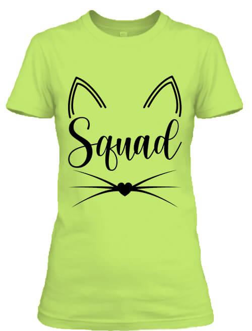Női póló Cica Squad almazöld