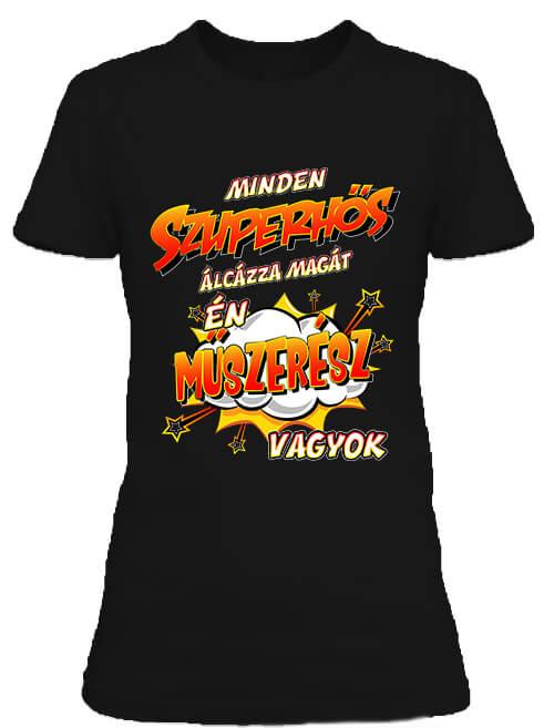 Női póló Szuperhős műszerész fekete