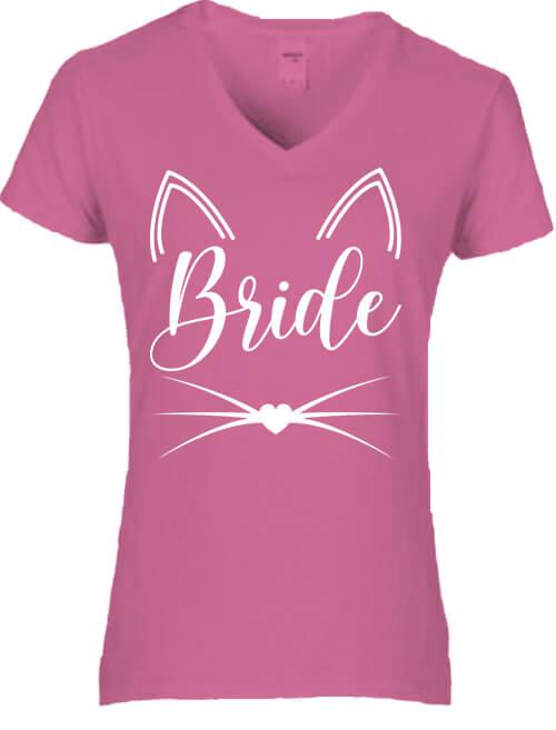 Női V nyakú póló Cica Bride sötétrózsaszín