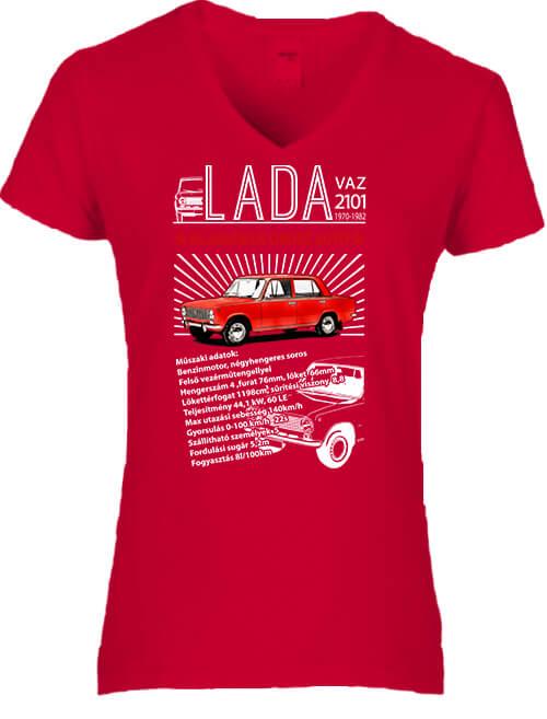 Női V nyakú póló Lada 2101 piros