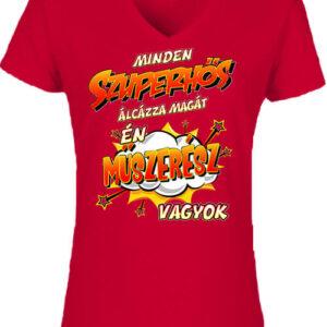 Szuperhős műszerész – Női V nyakú póló
