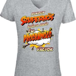 Szuperhős programozó – Női V nyakú póló