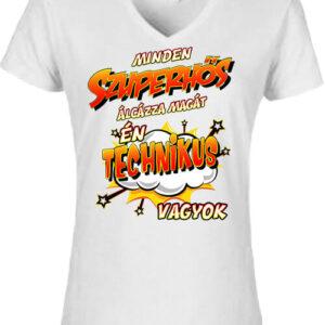 Szuperhős technikus – Női V nyakú póló