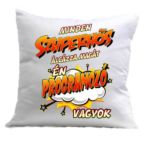 Párna Szuperhős programozó fehér