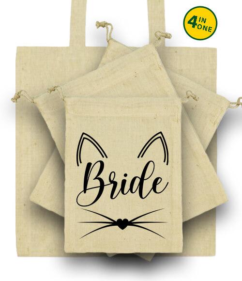 Táska szett Cica Bride natúr