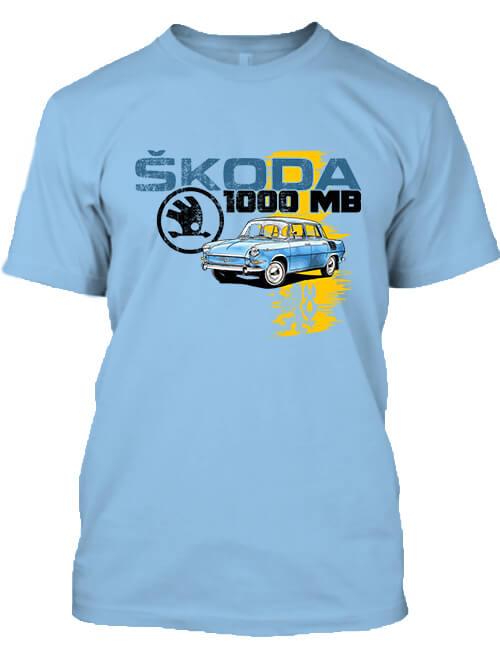 Férfi póló Skoda 1000 MB égkék
