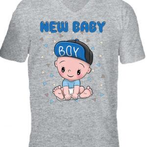 New baby boy – Férfi V nyakú póló