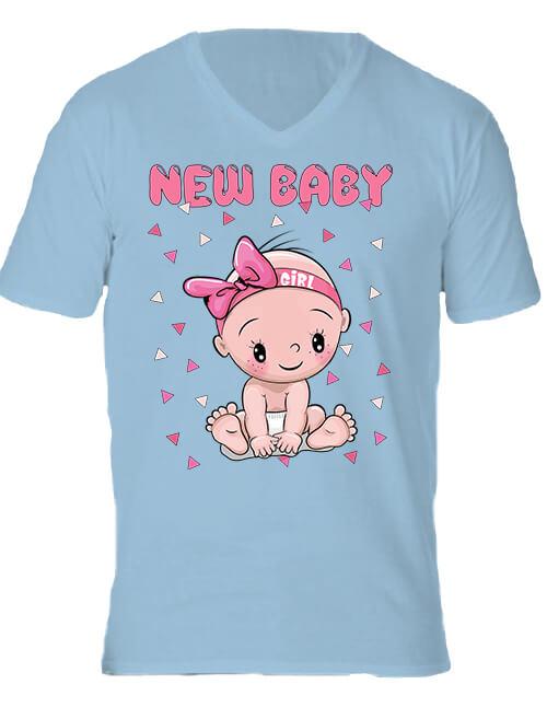 Férfi V nyakú póló New baby girl világoskék