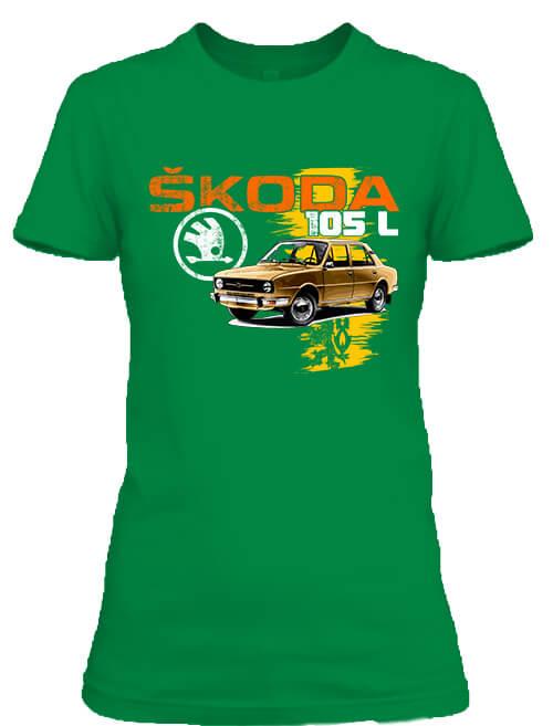 Női póló Skoda 105 L barna élénkzöld