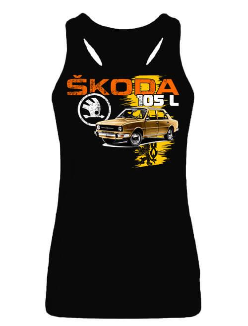 Női ujjatlan póló Skoda 105 L barna fekete