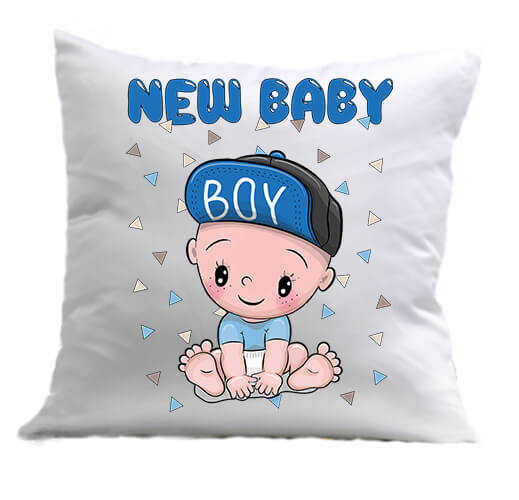 Párna New baby boy fehér