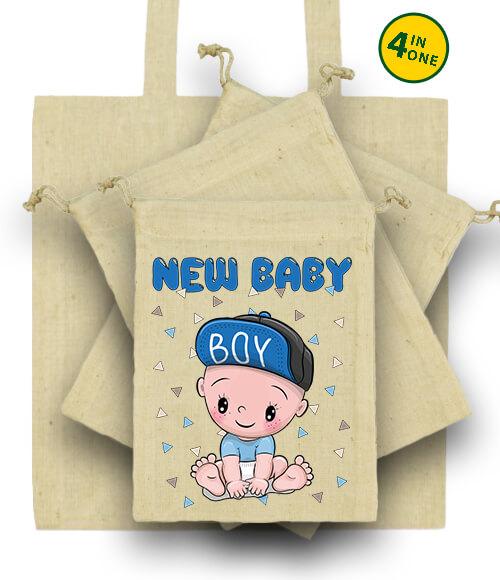 Táska szett New baby boy natúr