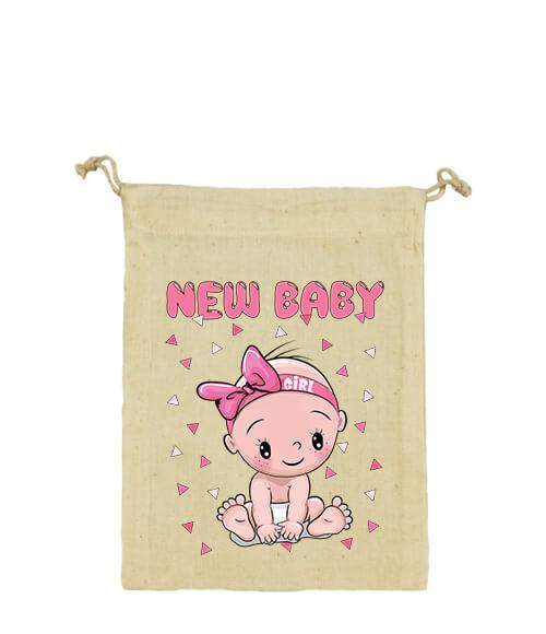 Vászonzacskó New baby girl natur