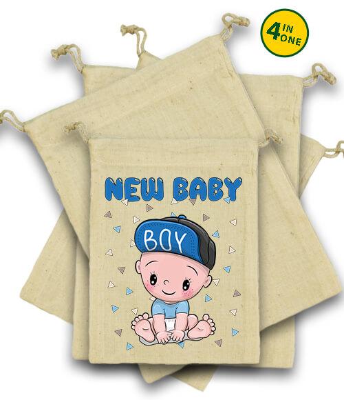 Vászonzacskó szett New baby boy natúr