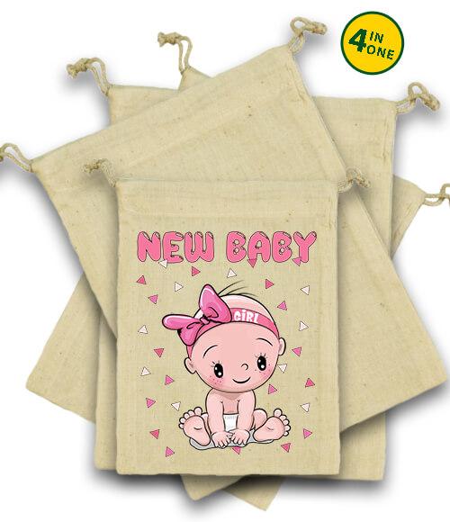Vászonzacskó szett New baby girl natúr