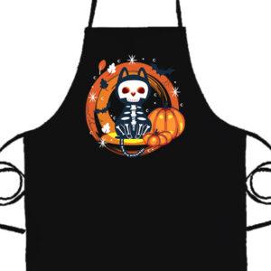 Halloween Macska Csontváz- Basic kötény